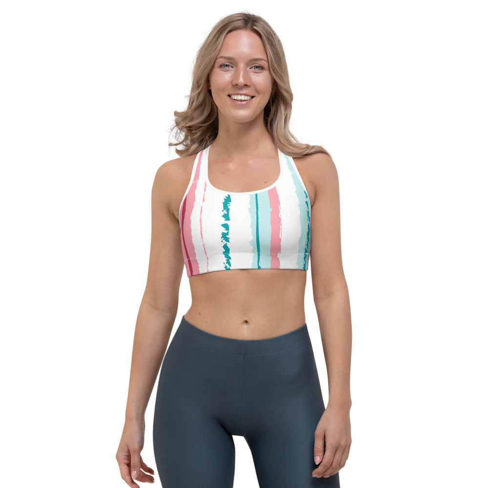 Pink Turquoise Stripes Vegan Sports Bra Izzabel