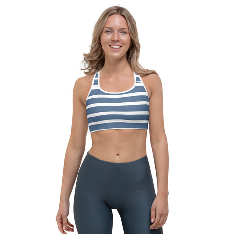 Sailor - White & Blue Stripes Sports bra