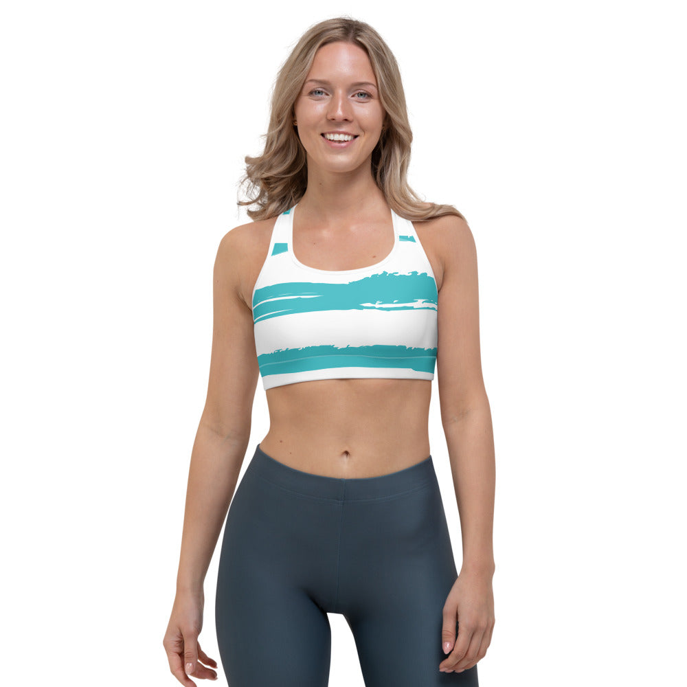 Bodrum - Turquoise Paint Strokes Print Sports Bra
