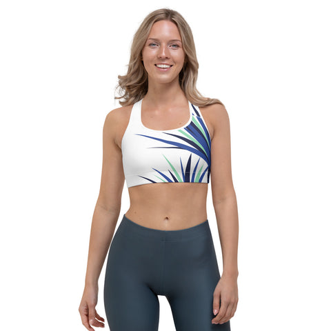 Tina - Palm Flower Print Sports Bra