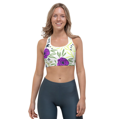 Aisha - Purple And Yellow Flower Print Sports Bra