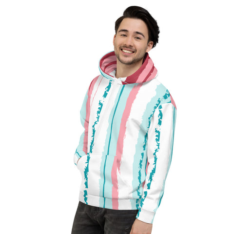 Pink Turquoise Stripes Vegan Men's Hoodie Izzabel