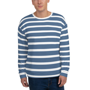 Sailor - White & Blue Stripes Unisex Sweatshirt