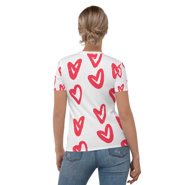 Tainted Painted Heart - Valentine's T-shirt Tainted Painted Heart Hearts Short Sleeves Women's T-shirt
