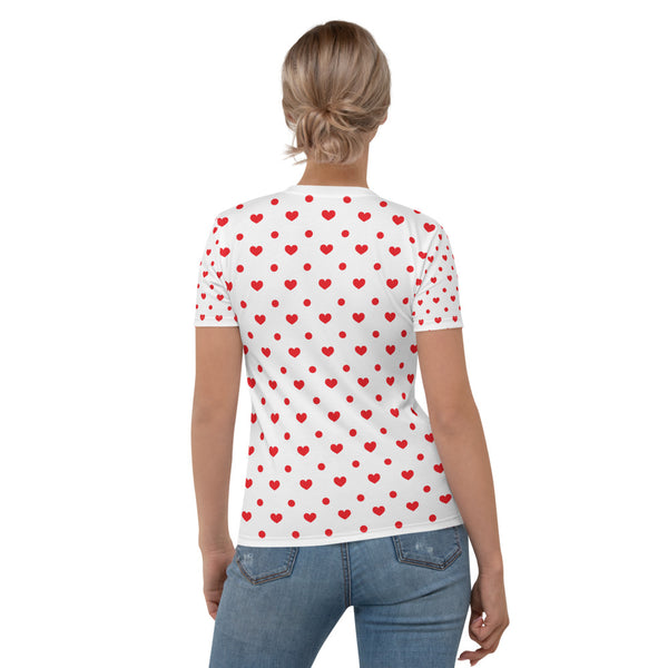 Giulietta - Red Hearts And Polkadots Print Short Sleeves Women's T-shirt
