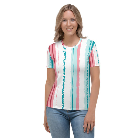 Pink Turquoise Stripes Vegan Women's T shirt Izzabel