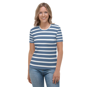 Sailor - White Blue Stripes Short Sleeves Women's T-shirt
