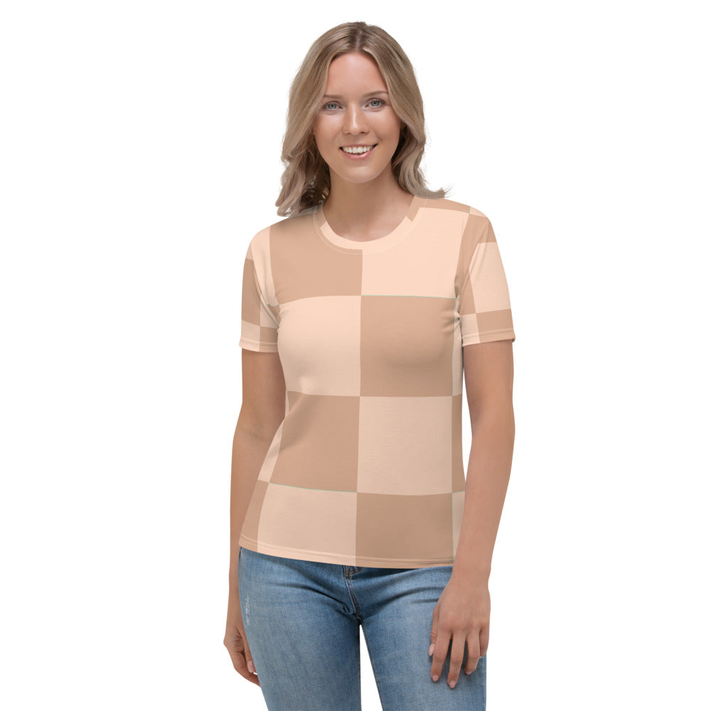 Ali - Tan Beige Checkered Print Short Sleeves Women's T-shirt