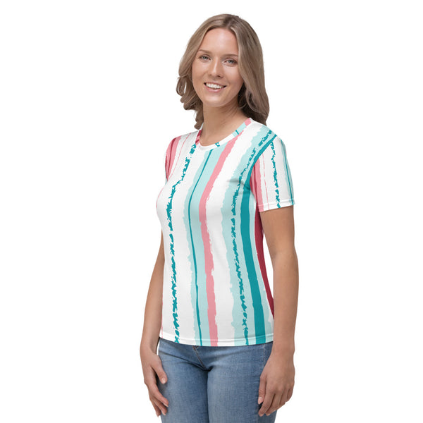 Tuscany - Turquoise Pink Stripes Short Sleeves Women's T-shirt
