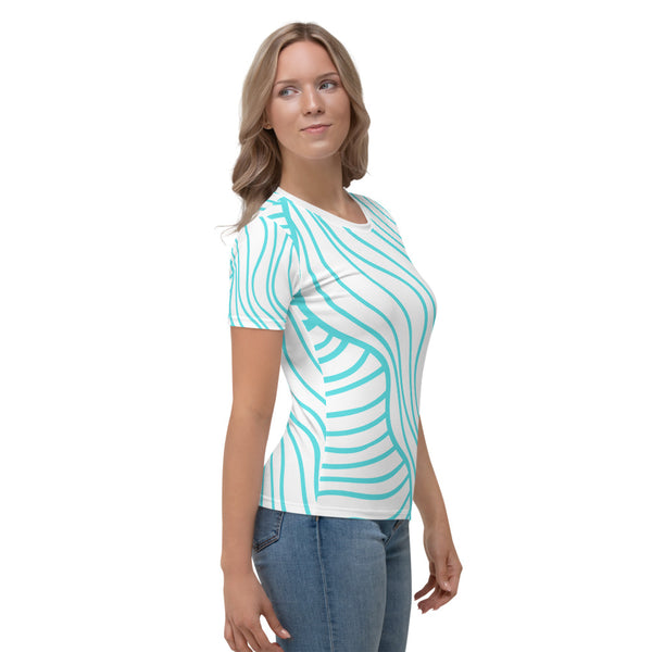 Turquoise shorts sleeves women's t shirts