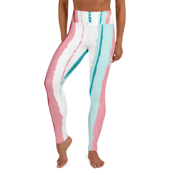 Pink Turquoise Stripes Vegan Yoga Pants Leggings Izzabel