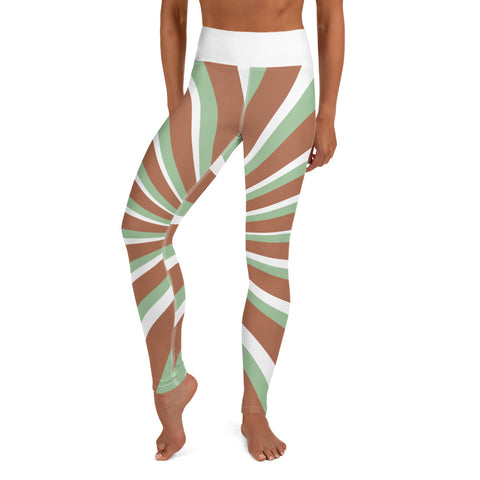 Woodstock - 3 Dimensional Green & Brown Stripes Leggings