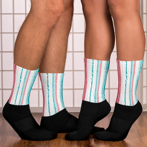 Pink Turquoise Stripes Vegan men's Women's socks Izzabel