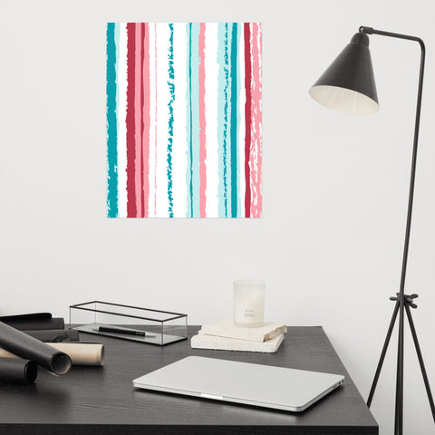 rainbow pink turquoise stripes vegan poster izzabel