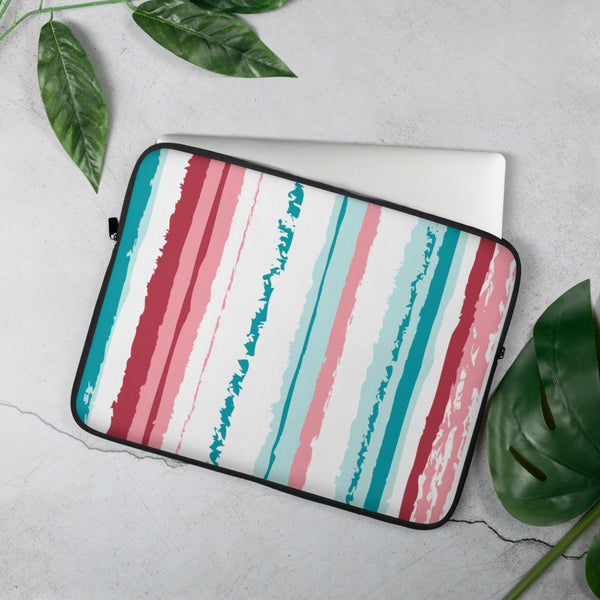 Turquoise Pink Vegan Laptop Cover