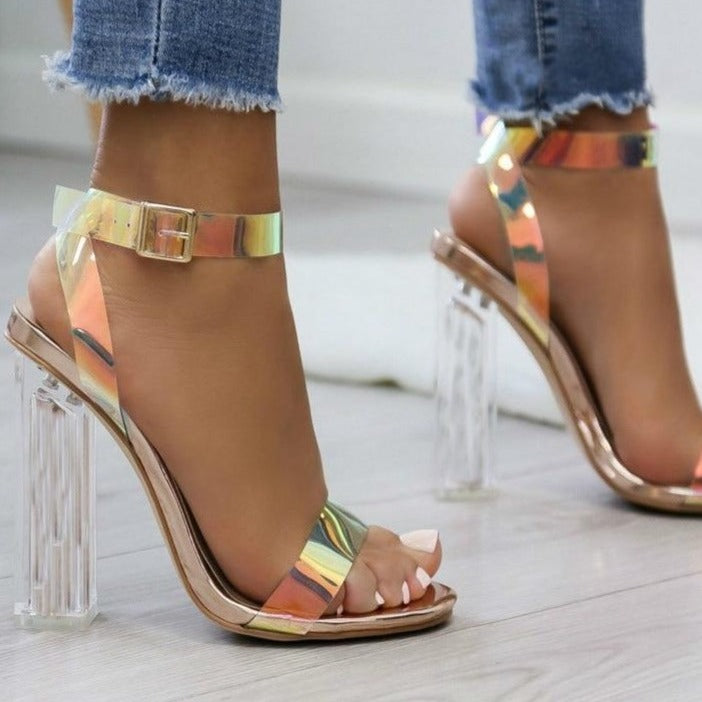 Layla - PVC Clear Transparent Strappy High Heel