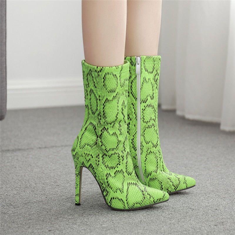 Rosie - - Snake Print Ankle Boots