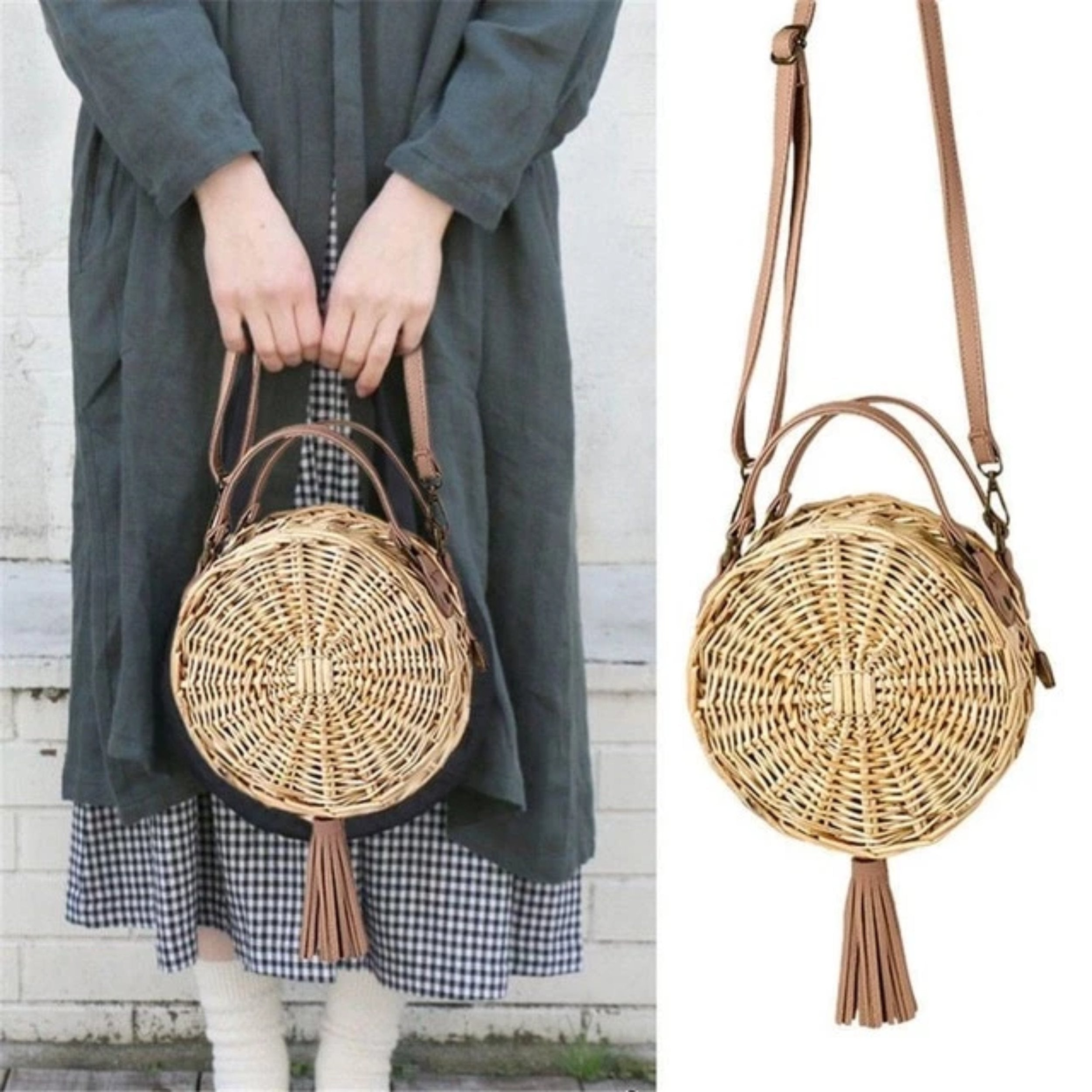 Bali - Vintage Feel Straw Crossbody Bag - Izzabel