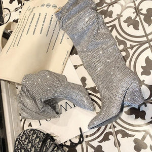 Grace - Draped Rhinestone Crystal Boots - Izzabel