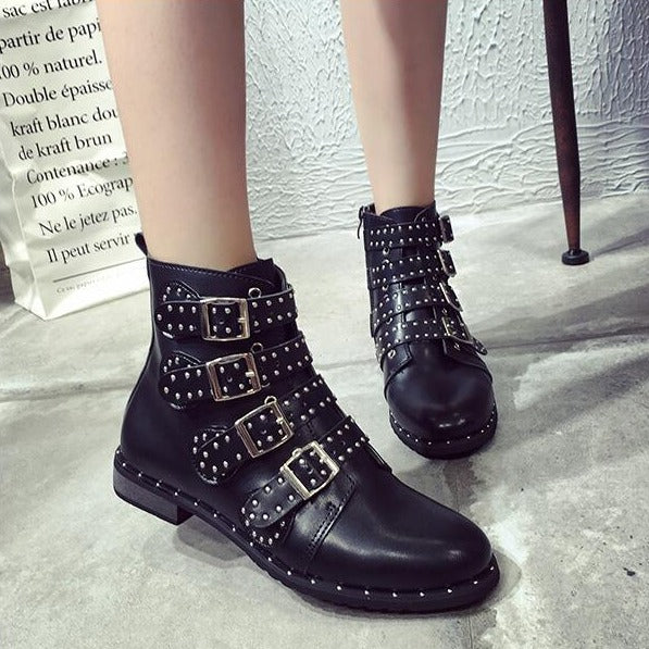 Thea - Rivets Faux Leather Booties