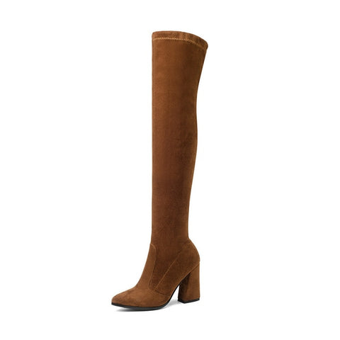 Angie - Faux Suede Over The Knee Boot - Izzabel