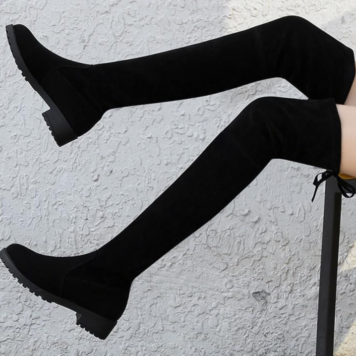 Jordan - Faux Suede Over The Knee Boot
