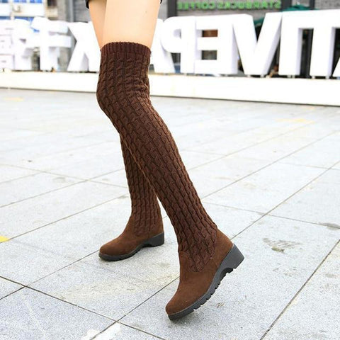 Violet - Knitted Thigh High Boot - Izzabel
