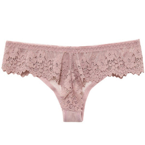 TERMEZY Women Sexy Lace Lingerie Temptation Low-waist Panties Embroidery Thong Transparent Hollow out Underwear Female G String
