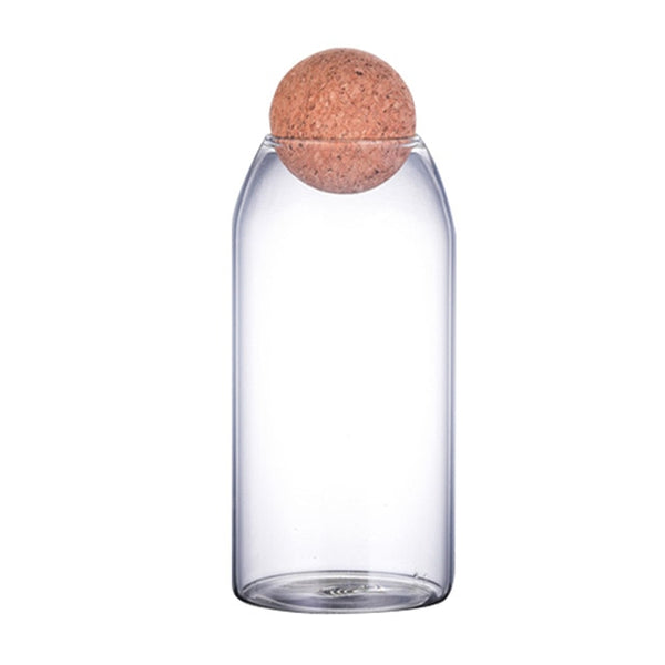 Transparent Lead-Free Glass Ball Cork Sealed Can Storage Tank Grains Storage Jar Creative Cork Tea Containers Kitchen Storage - Izzabel