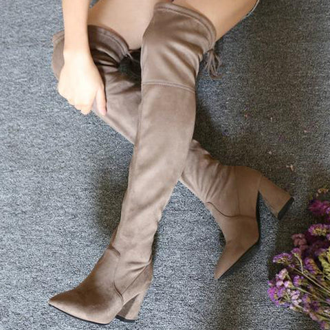 Eline Faux Suede Over The Knee Boots