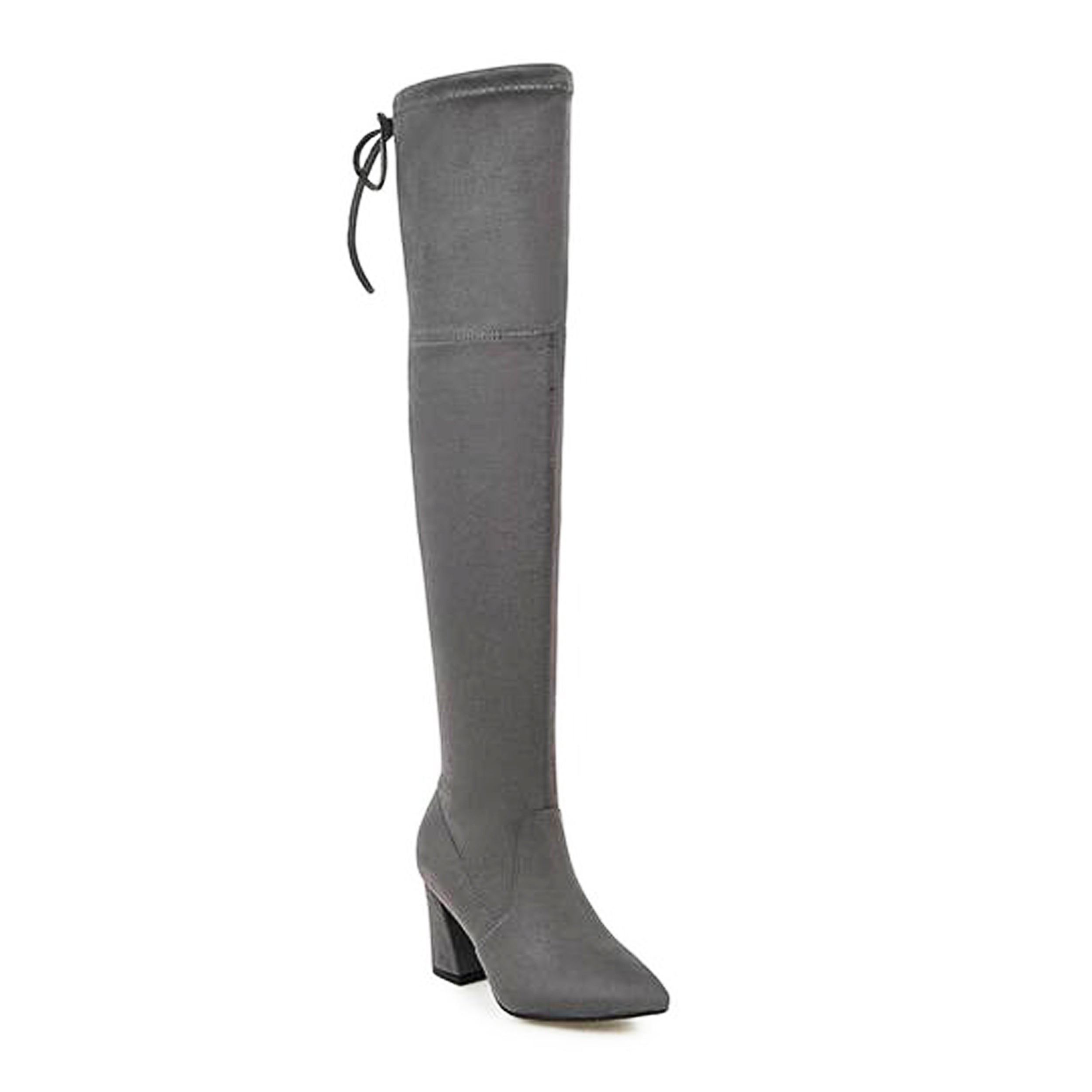 Eline - Faux Suede Over The Knee Boots - Izzabel