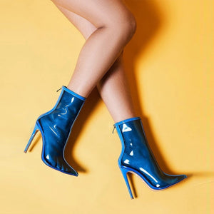 Madison Blue - PVC Transparent Zip Up Boot - Izzabel