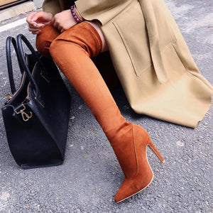 Desert Thigh High Stiletto Heel Boot
