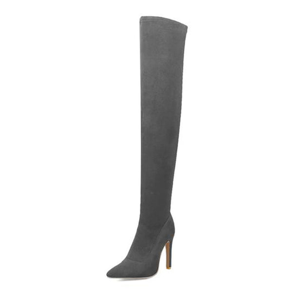 Faux Suede Stiletto Thigh High Boot Izzabel Vegan