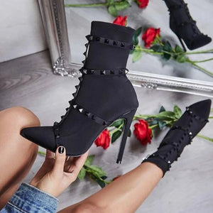 Material Girl - Pointed Toe Studded Ankle Bootie - Izzabel