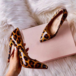 Animal print stiletto heels