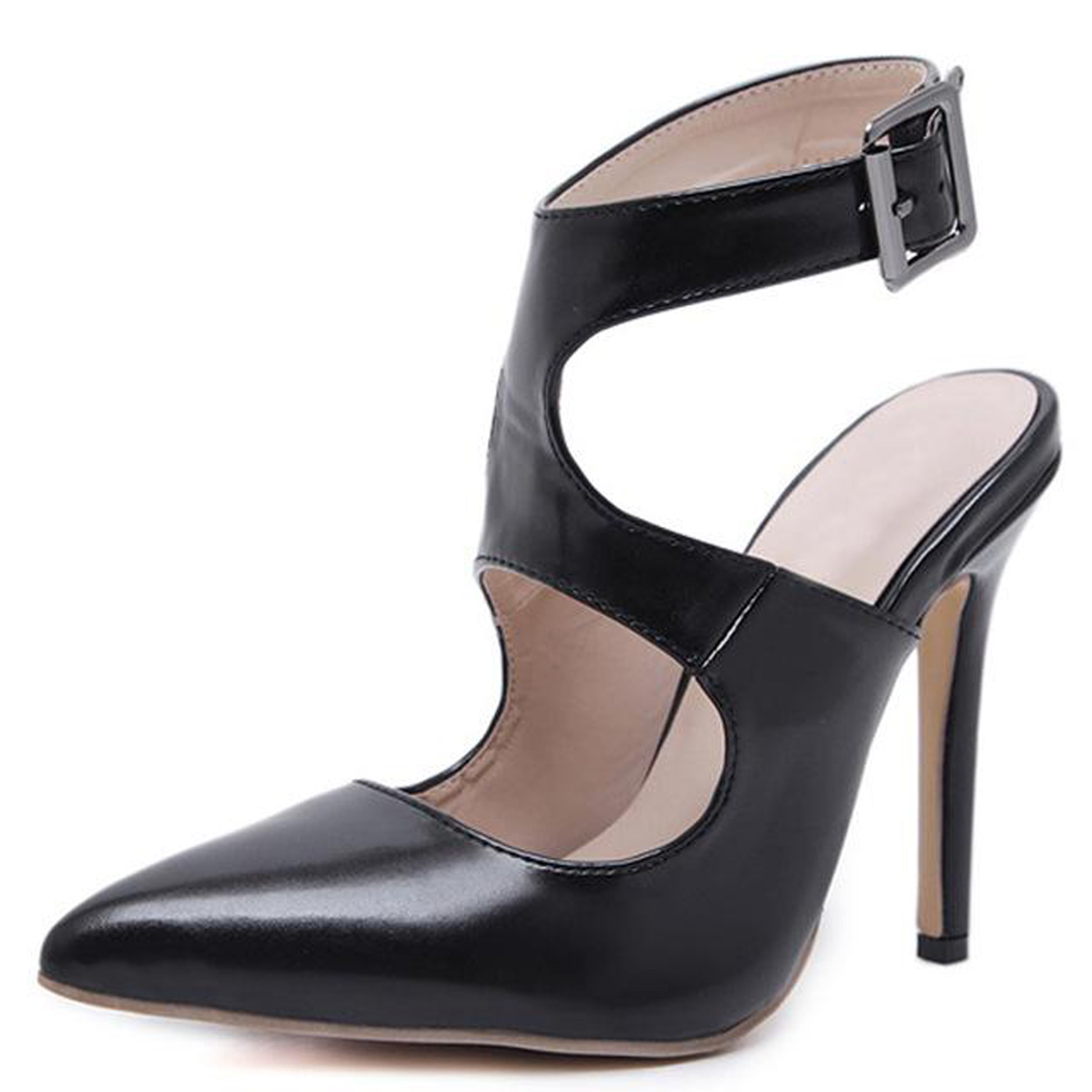 Black ankle strap pumps