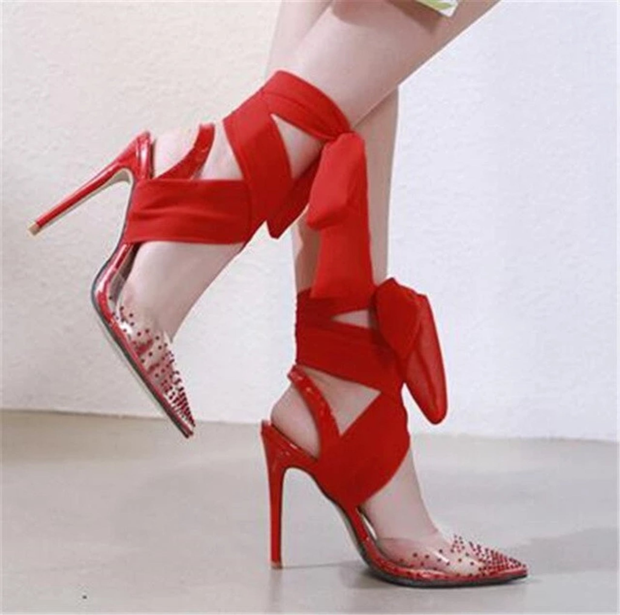 Audrey - The Rhinestone Ankle Strap Stiletto - Izzabel
