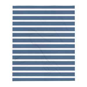 Sailor - Blue & White Stripes Vegan Throw Blanket