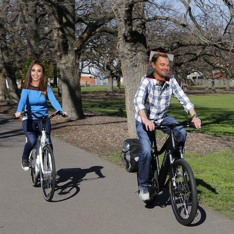 Jess and Leo on dyson ebikes