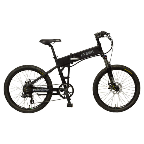Dyson Bikes Adventure 24-inch folding electric bike in matte black, right side.