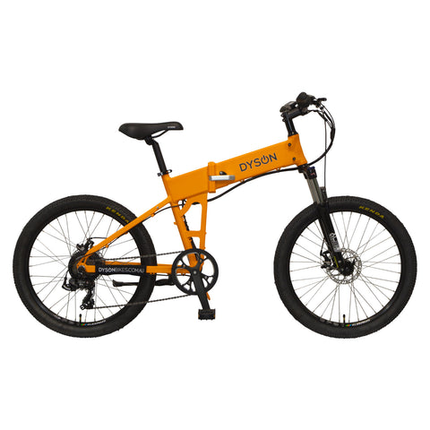 Dyson Bikes Adventure 24-inch folding electric bike in matte orange, right side.
