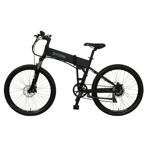 Dyson Bikes Adventure 26-inch folding electric bike in matte black, left side.