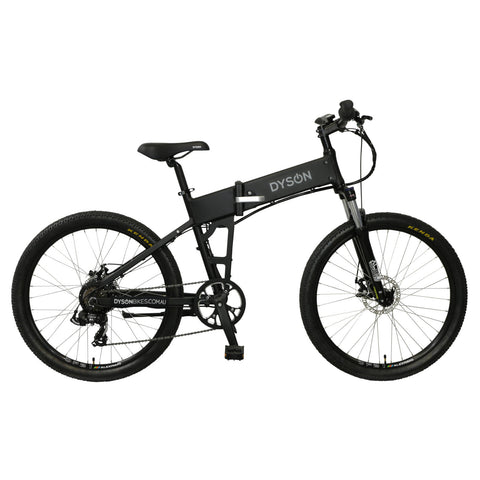 Dyson Bikes Adventure 26-inch folding electric bike in matte black, right side.
