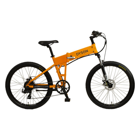 Dyson Bikes Adventure 26-inch folding electric bike in matte orange, right side.