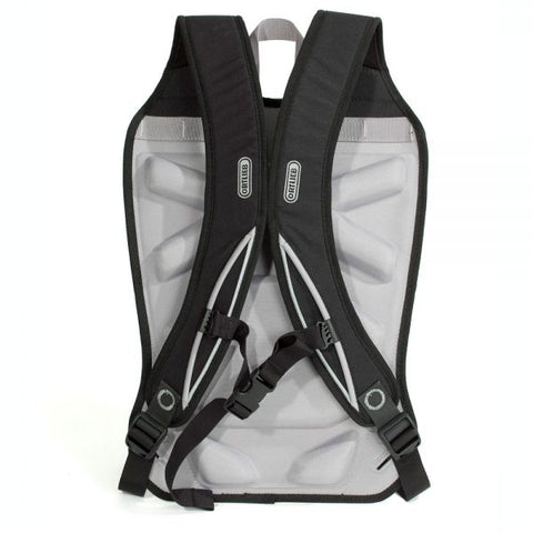 Ortlieb Bike pannier back pack carrying system, part number F34. View with straps.