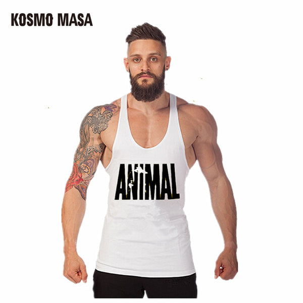 KOSMO MASA 2017 Skull Bodybuilding Fitness Animal Stringer Stringer Men Tank Top Golds Gorilla Wear Vest Undershirt MC0065