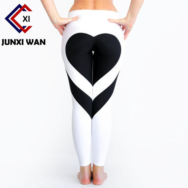 Heart Pattern Work out Leggings Red Black White Patchwork Print Push Up Leggins Fitness Legging Sportswear Elastic Women Pants