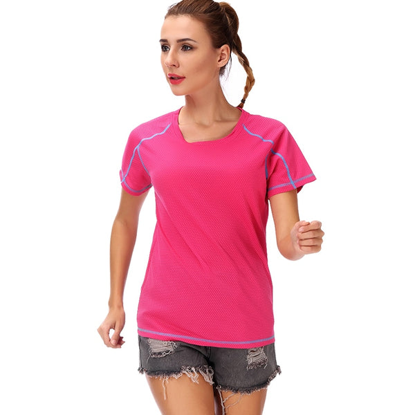 LELINTA Women Yoga Shirts High Elastic Slim Workout Sports T Shirt Quick Dry Running Gym Fitness Breathable Yoga Sports Tops