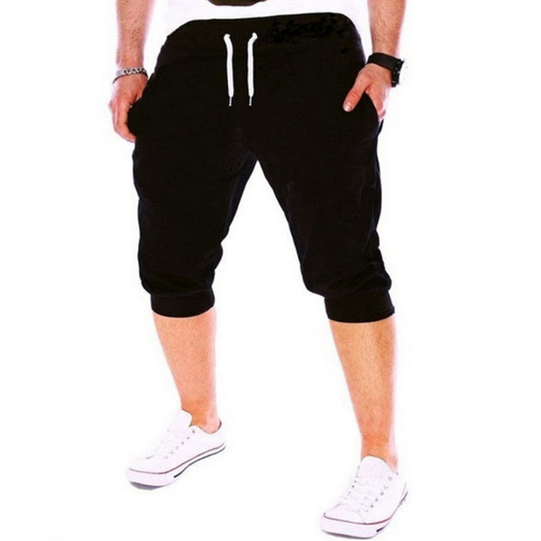 Laamei Summer New Leisure Men Knee Length Shorts Solid Color Joggers Short Sweatpants Trousers Mens Slim Casual Bermuda Shorts